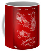 1980 Soccer Shoes Patent Artwork - Red Coffee Mug