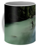 A Man Casts In A River Wearing Waders Coffee Mug