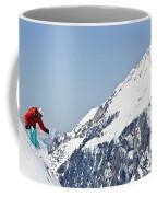 A Man Skis Untracked Powder Off-piste Coffee Mug