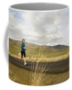 A Woman Out For A Jog In The Country Coffee Mug