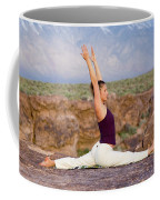 A Woman Practicing Yoga On A Dry Lake Coffee Mug