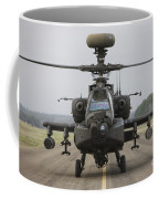 Ah-64 Apache Helicopter On The Runway Coffee Mug