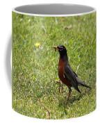 American Robin Gathering Worms Coffee Mug