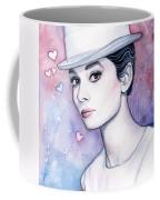 Audrey Hepburn Fashion Watercolor Coffee Mug