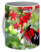 Butterfly On Red Bush Coffee Mug