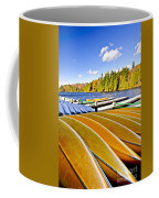 Canoes On Autumn Lake Coffee Mug