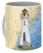Cockspur Island Lighthouse Ga Nautical Chart Map Art Cathy Peek Coffee Mug