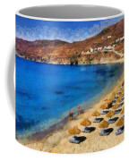 Elia Beach In Mykonos Island Coffee Mug