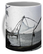 Fishing Nets On The Sea Coast In Alleppey Coffee Mug