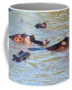 Hippopotamus Group In River. Serengeti. Tanzania. Coffee Mug