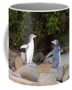 Juvenile Nz Yellow-eyed Penguins Or Hoiho On Shore Coffee Mug