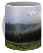 Mount Rainier Shrouded In Fog Coffee Mug