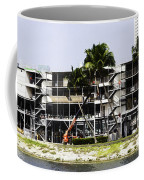 Oil Painting - Using A Crane To Help In The Preparation For The Formula One Race Coffee Mug