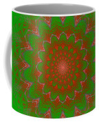 Psychedelic Spiral Vortex Green And Red Fractal Flame Coffee Mug