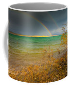 Rainbow And Dark Clouds Over Large Lake Coffee Mug