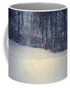 Red Flag On The Snow Covered Golf Course Coffee Mug