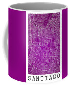 Santiago Street Map - Santiago Chile Road Map Art On Colored Bac Coffee Mug