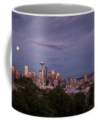Seattle Skyline With Moonrise And Space Needle Coffee Mug