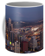 Seattle Skyline With Mount Rainier And Downtown City Lights Coffee Mug