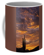 Silhouetted Saguaro Cactus Sunset At Dusk With Dramatic Clouds Coffee Mug