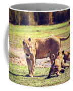 Small Lion Cubs With Mother. Tanzania Coffee Mug