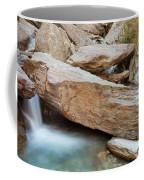 Small Waterfall Casdcading Over Rocks In Blue Pond Coffee Mug