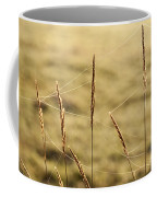 Spider Webs In Field On Tall Grass Coffee Mug