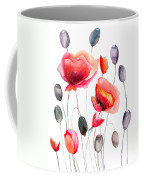 Stylized Poppy Flowers Illustration  Coffee Mug