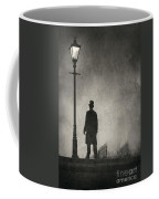 Victorian Man Standing Next To An Illuminated Gas Lamp Coffee Mug by Lee Avison