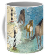 Wild Mustang Horses Outer Banks Lighthouses Nautical Chart Map Art Coffee Mug