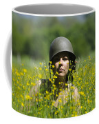 Woman With Military Helmet Coffee Mug