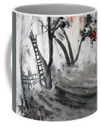 2013 058 Tree And Ladder Alexandria Virginia Silver Black White Red Coffee Mug