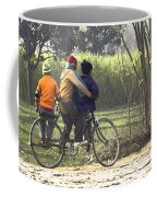 3 Young Children On A Cycle At The Side Of The Road Coffee Mug