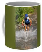 A Woman Mountain Bikes Along Trail 401 Coffee Mug