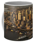 Aerial View Of Seattle Skyline Along Waterfront Coffee Mug