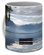 Bench With Trees On A Flooding Alpine Lake Coffee Mug