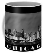 Chicago Skyline At Night In Black And White Coffee Mug