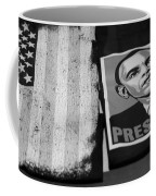 Commercialization Of The President Of The United States Of America In Black And White Coffee Mug by Rob Hans
