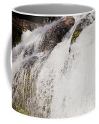 Curtain Of White Water Falling From Rocky Cliff Coffee Mug