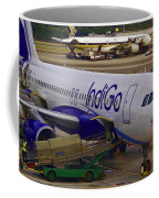 Indigo Aircraft Getting Ready In Changi Airport Coffee Mug