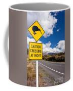Kiwi Crossing Road Sign And Volcano Ruapehu Nz Coffee Mug