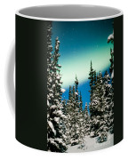 Northern Lights Aurora Borealis And Winter Forest Coffee Mug
