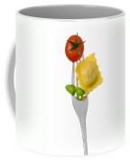 Ravioli Pasta Tomato And Basil On Fork Against White Background Coffee Mug