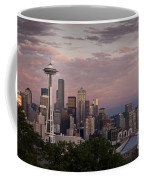 Seattle Skyline With Space Needle And Stormy Weather With Mount  Coffee Mug