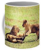 Small Lion Cubs Playing. Tanzania Coffee Mug