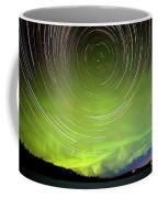 Star Trails And Northern Lights In Night Sky Coffee Mug