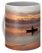 Sunrise In Fog Lake Cassidy With Fisherman In Small Fishing Boat Coffee Mug