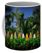 Surf Board Fence Maui Hawaii Coffee Mug by Edward Fielding