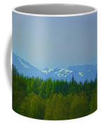 Treeline With Ice Capped Mountains In The Scottish Highlands Coffee Mug