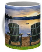 Wooden Chairs At Sunset On Beach Coffee Mug